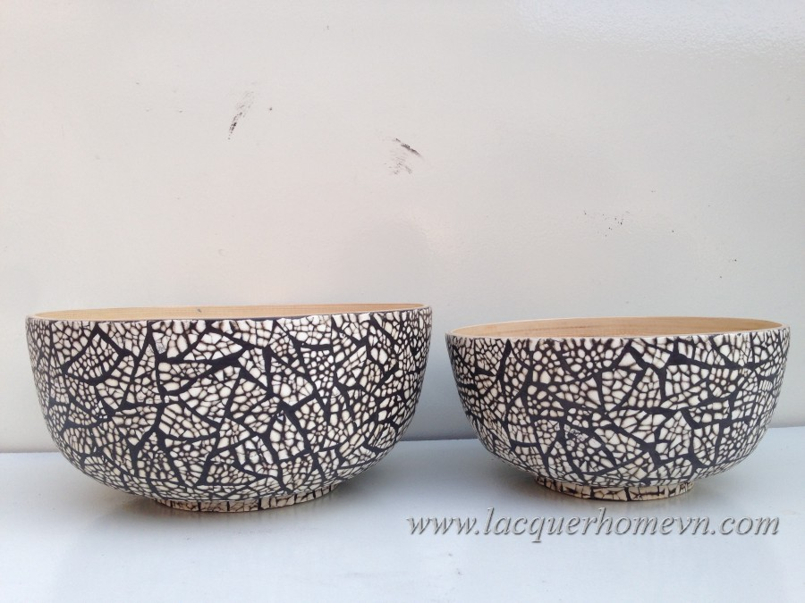 Bamboo eggshell crackle cereal bowl