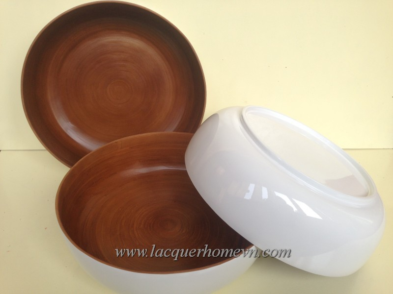 Hand coiled bamboo lacquer salad bowls, made in Vietnam