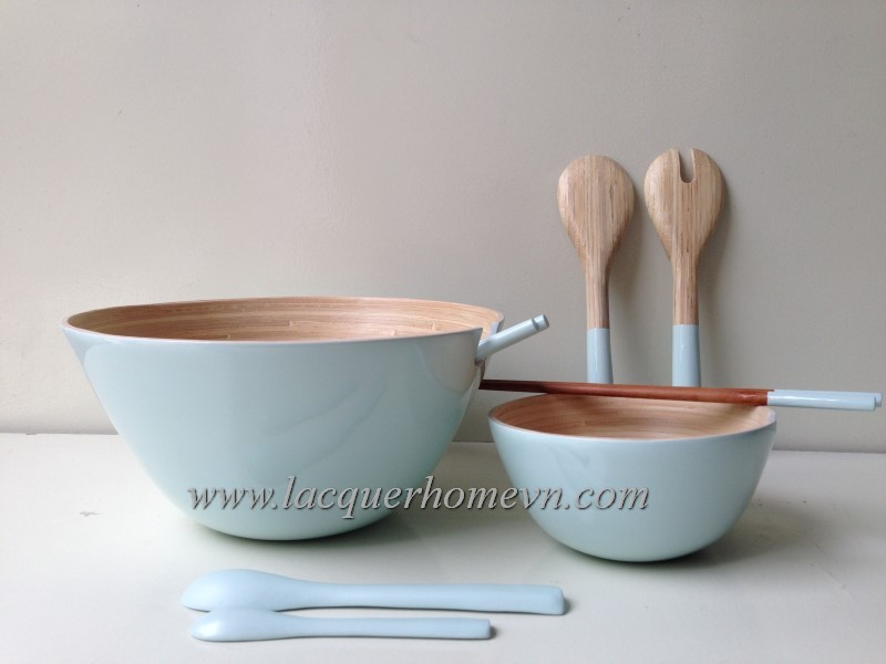Lacquered bamboo bowls, made in Vietnam