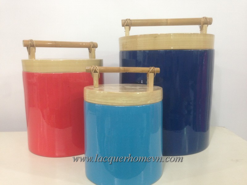Bamboo lacquer ice bucket, made in Vietnam